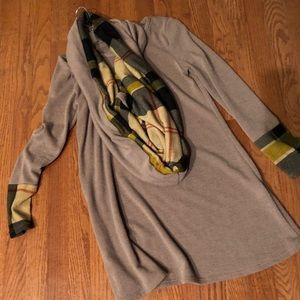 Boutique sweater dress with scarf
